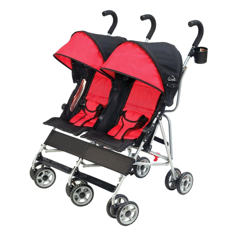 Kolcraft Cloud Side-by-Side Double Umbrella Stroller, Red