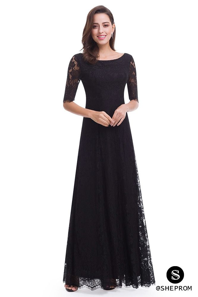 Elegant Lace Half Sleeve Long Black Evening Party Dress 71