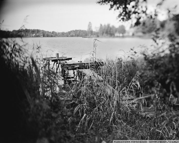 One of many fisherman's places around Mstino lake. Russia, Tverskaya oblast, Vishnevolotsky raion.    This image was taken by my favorite Linhof Technika III and Rodenstock 150mm f5.6. Ilford Delta 100.