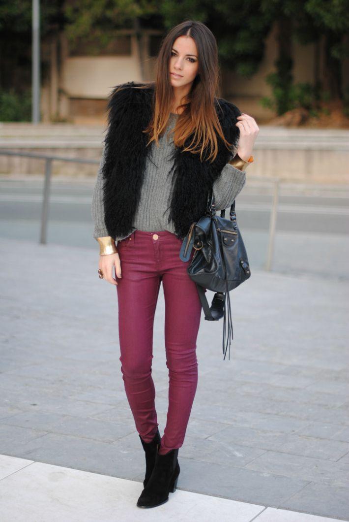 brugundy pants. grey knit. black faux fur vest.