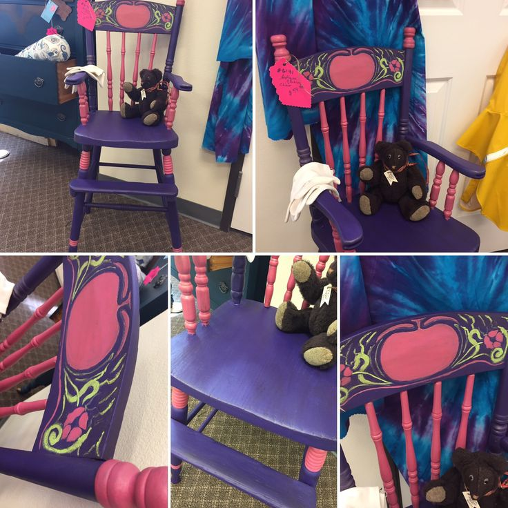 Antique high chair painted with #purpleheart #rita #limetime #pearlgoldshimmer #hazelnutrevax #pearlrevax