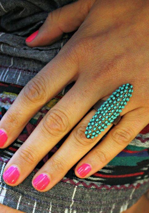 amazing turquoise beaded ring