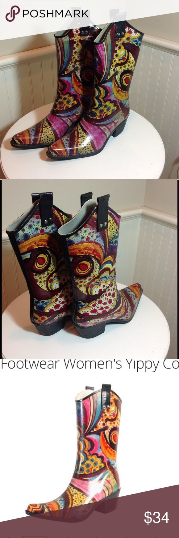 Nomad Yippy Rubber Cowboy Rainboot 8 Super cute!! Western printed cowboy rain boots!! Water resistant rubber. Non-slip sole!  Fully lined. Comfort insole. Great condition!! Size 8 Nomad Footwear Shoes Winter & Rain Boots