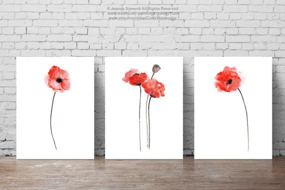 Red Poppies, Set of 3, Abstract Flower Painting, Watercolor Floral Idea, Poppy Home Decor, Flowers Art Print