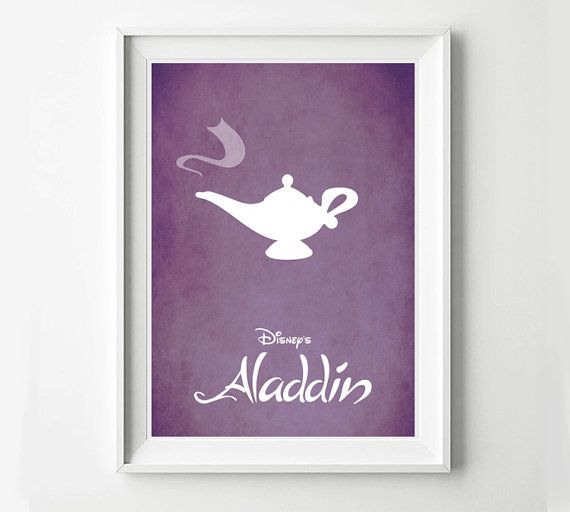 Aladdin movie poster. Great poster for any fan of Disney and a great gift idea.    Printed on high quality 200gsm-250gsm paper with a small white border