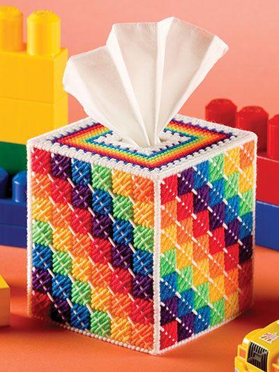 Plastic Canvas - Tissue Topper Patterns - Boutique-Style Patterns - Rainbows & Raindrops