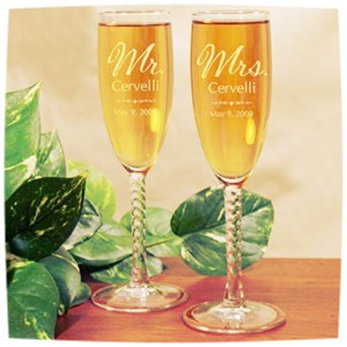 these champagne flute glasses are perfect for the wedding season. Personalization changes the look and takes the gift to the next level.