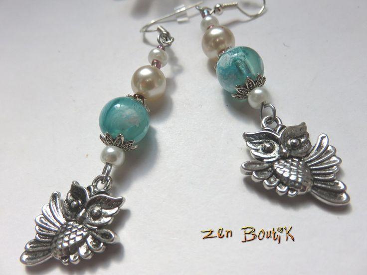 Boucles d'oreilles Chouette, Bijou Hibou Animaux avec Perles de Verre, Perles Nacrées, Cadeau Zen : Boucles d'oreille par zenboutik