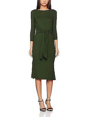 Small, Green, Springfield Women's Franq.Kaki Midi Lazo Casual Dress NEW