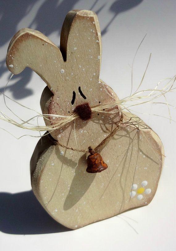 Primitive Wood Easter Bunny Spring Rabbit by TheQuiltedPumpkin, $10.00