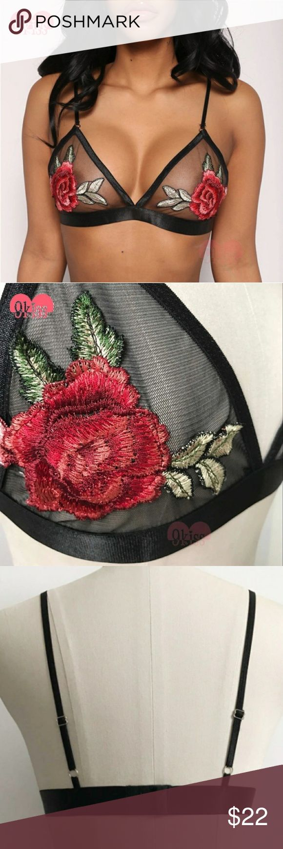 """NWT, Sexy and Cute Embroidery Bralette Bikini Top Black mesh with rose flower embroidery satin trim. Wear it alone or under a mesh or transparent top. Sizes available Small, Medium and Large. Brand New with tag.  Small bust fits 28"""" to 31in Medium bust fits 29in to 33in Large bust fits 30in to 35in Intimates & Sleepwear Bras"""