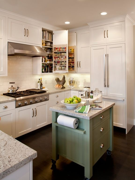 Country Kitchen with Rev a shelf door storage spice rack, Kitchen island, Flat panel cabinets, Blanco tulum, U-shaped