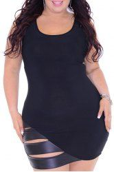PU Leather Spliced Plus Size Sexy Scoop Neck Sleeveless Bodycon Dress For Women (BLACK,3XL) | Sammydress.com Mobile