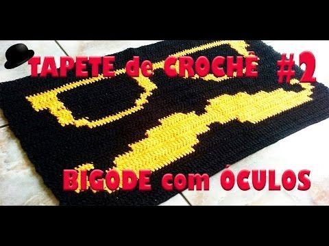 Tapete em Crochê Bigode com Óculos Parte 1 , mustache crochet rug , 口ひげかぎ針編みの敷物 - YouTube