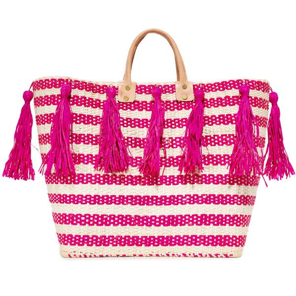 Mar Y Sol Sahara Tote (1.185 NOK) ❤ liked on Polyvore featuring bags, handbags, tote bags, pink, pink tote, straw tote, straw purse, stripe tote and straw handbags