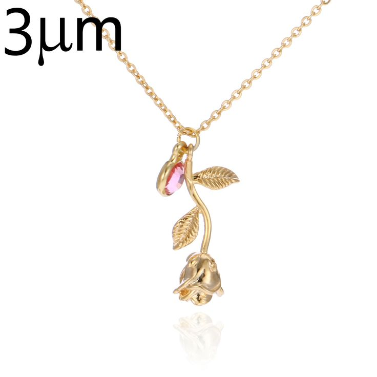 3D Rose Necklace gold color Personalized custom Birthstone charm Necklace Final Rose Flower Beauty and the Beast Jewelry Women //Price: $25.72 & FREE Shipping //     #hashtag1