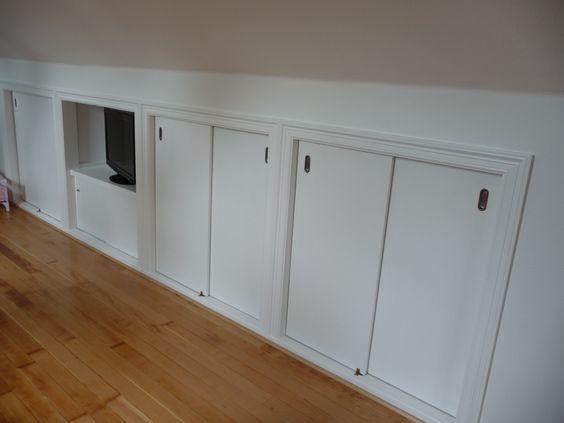 Image result for loft storage space sliding door