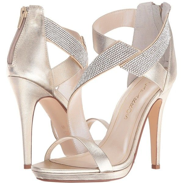 Caparros Fantastic (Platino/Clear Metallic) High Heels (1 250 ZAR) ❤ liked on Polyvore featuring shoes, sandals, high heel sandals, metallic sandals, high heel platform shoes, high heel platform sandals and clear platform shoes
