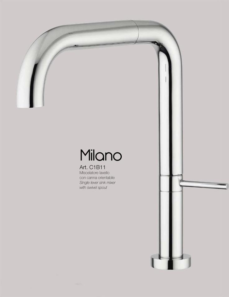 MILANO - CROMO miscelatore lavello con canna orientabile