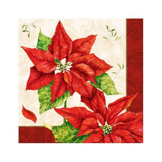 Kerststerren thema servetten 20 stuks. Papieren servetten bedrukt met plaatjes van kerstbloemen. De servetten zijn 33 x 33 cm.