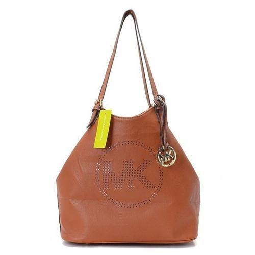 Cheap Michael Kors Perforated-Logo Grab Large Brown Shoulder Bags Clearance