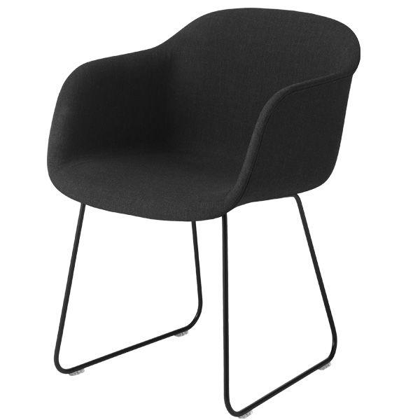 Fiber chair, sled base, Remix 183/black, by Muuto.