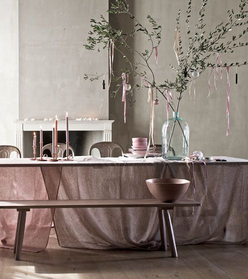 kerst feest decoratie roze pastel