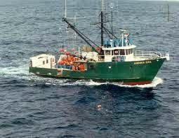 "Fishing trawler, the Andrea Gail's captian: ""She's comin' on boys, and she's comin' on strong."""