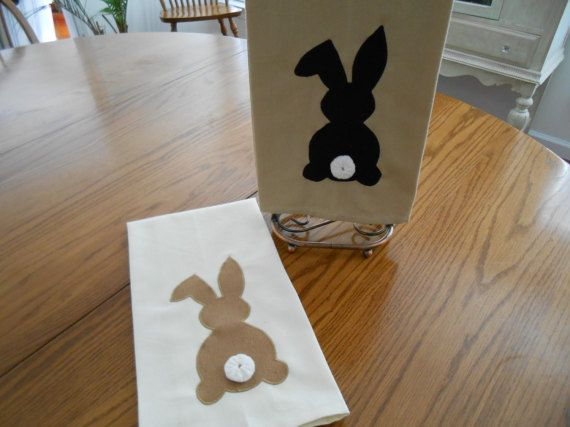 Decorative Hand Towel Set with Bunny Applique  Dish Towel Set
