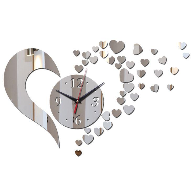 2015 acrílico 3d espelho relógio de quartzo real adesivos de parede decoração da casa de moda clock modernos de design relógios crianças frete grátis alishoppbrasil