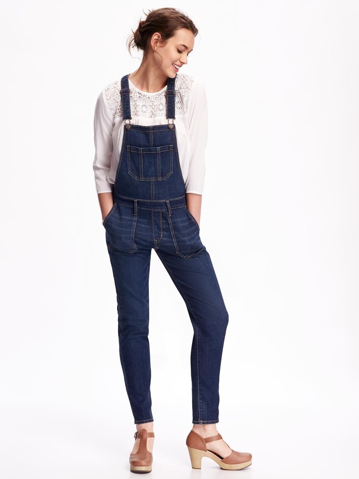 Old Navy Skinny Denim Overalls ($45): Overalls are back in a big way and here's proof that you they don't have to give you flashbacks of the cartoon-emblazoned ones you rocked as a kid. Pair 'em up with cute clogs and lacey top for extra edge.