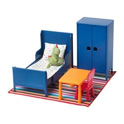 Of course your dolls need a cozy house too. This doll's furniture lets your child decorate with smaller copies of classic IKEA children's furniture. Let your imagination take over! Your dolls can eat at MAMMUT table, sleep in BUSUNGE extendable bed made with IKEA PS12 bed linen, snuggle with LÄSKIG soft toy and hang their clothes in BUSUNGE wardrobe. The drawings on the package can be cut out, colored and used as design details.