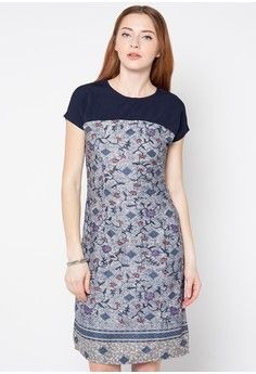 Dress Lady from bhatara batik in grey and navy                                                                                                                                                      More