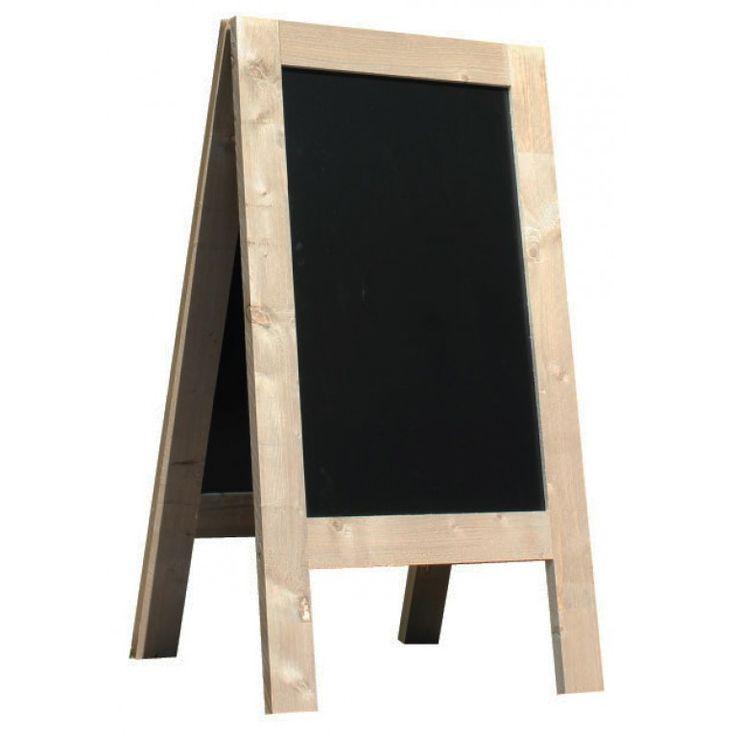 Krijtstoepbord Steigerhout 75x135cm. Lees meer over krijtstoepborden in ons nieuwsbericht: http://www.stoepbordengroothandel.nl/nieuws/krijtstoepborden-bij-goodstore.html
