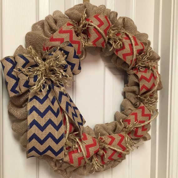 American Flag Burlap Wreath Natural Blue and by SignsBYDebbieHess