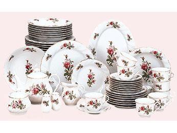 victorian serveware | Details about Victorian Rose 49 Piece Dinnerware Set