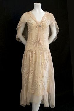 Enchanting 1920's Pale Peach Tulle Dress & Capelet