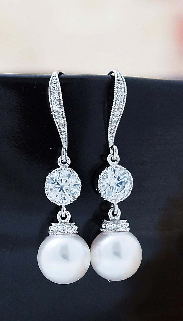 Swarovski Pearl With Cz Connector Bridal Earrings From Earringsnation  Bridesmaid Gifts