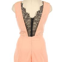 100% POLYESTER.     FLORAL LACE CONTRAST SOLID WOVEN ROMPER.