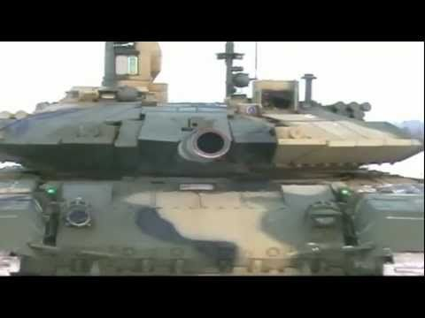 Tank T-90MS. winter demonstration