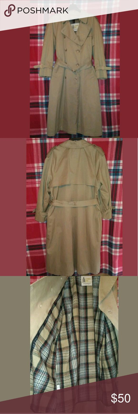 London Fog long belted classic khaki trench coat In excellent like new condition London Fog Jackets & Coats Trench Coats