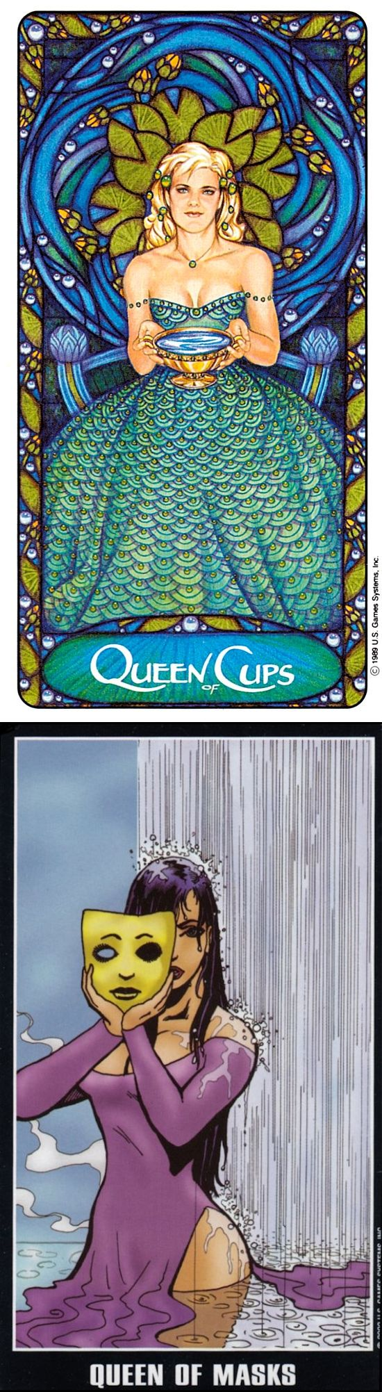 Queen of Cups: compassionate and cold (reverse). Matt Meyers Tarot deck and Adventure Tarot deck: are tarot cards real, tarotapokalypsis and tarotof the hidden realm. New tarot art vintage and guessing jars. #iosapplication #witchcraft #spellwork #pumpkin