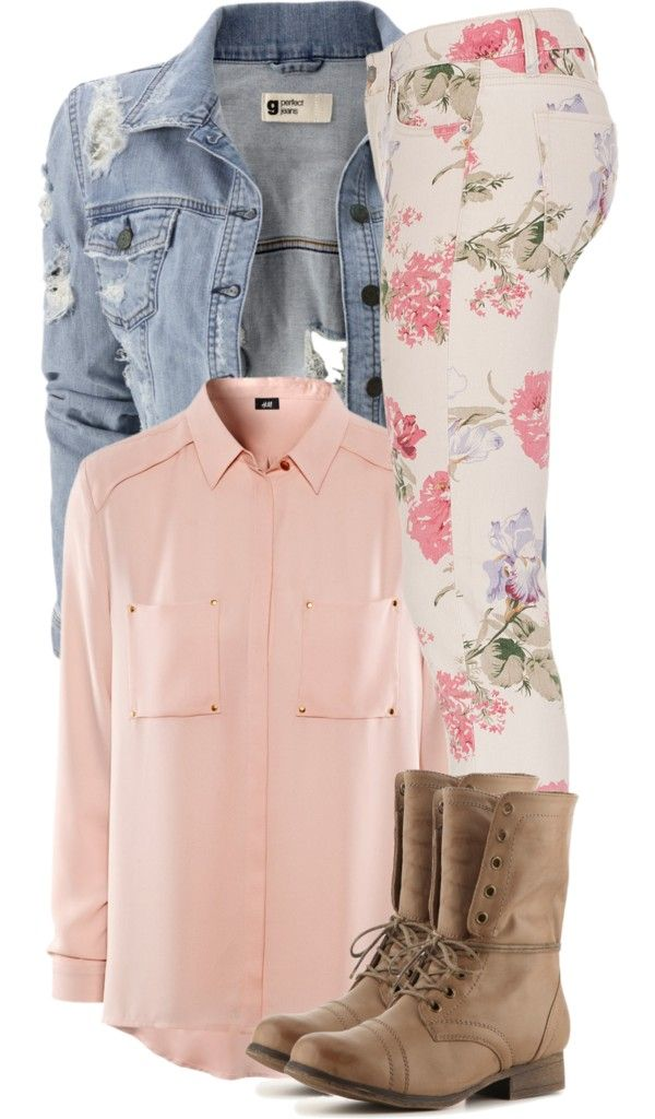 """Denim, Light Pink, Floral, Nude Outfit """"Life is Weird!"""" by plain-and-simple ❤ liked on Polyvore pants"""