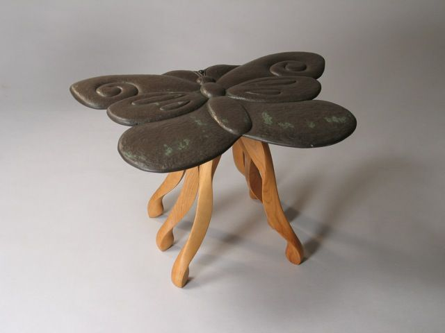 Butterfly End Table In Hand Carvved Vermont Slate And Cherry, By David  Hurwitz And Kerry O. Member Of The Guild Of Vermont Furniture Makers.