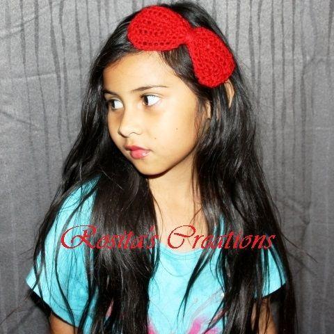 Red Big Bow Crocheted Headband