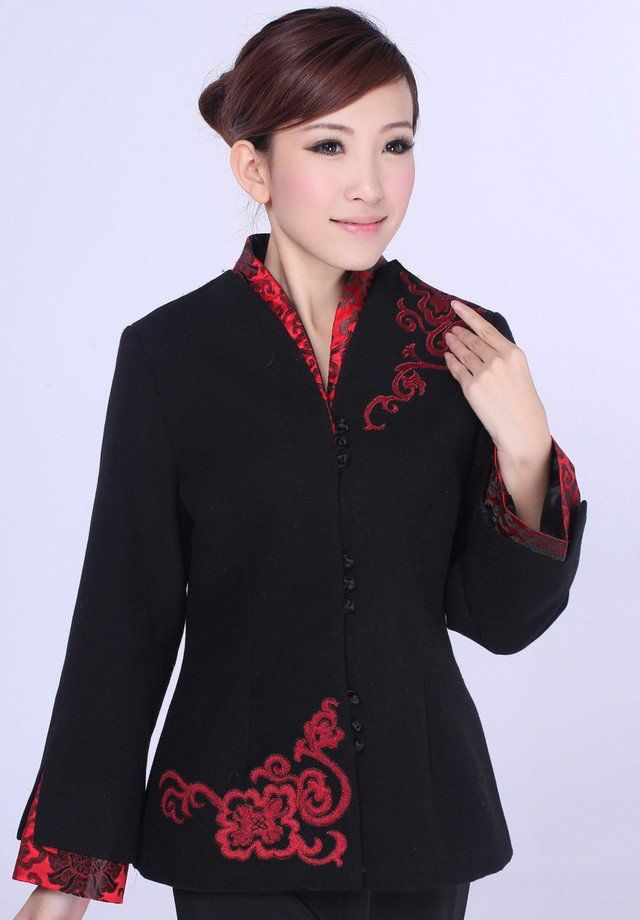 Black Wool Floral Embroidery Traditional Chinese Jacket for Mother - iDreamMart.com