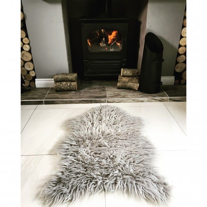 silver soft shaggy faux sheepskin rug