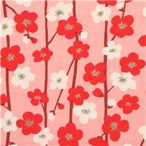 Tissu Dobby structuré pêche-rose avec des fleurs rouges et écru importé du Japon