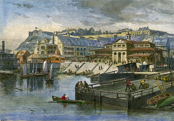 1872 +/- Finlay Market and wharves à Québec.