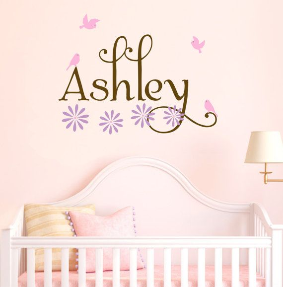 Girl Name Wall Decals Nursery Birds Flowers Baby by AllOnTheWall, $23.00: Nurseries Birds, Toddlers Vinyls, Girls Names, Flowers Baby, Baby Girls, Baby Toddlers, Decals Nurseries, Girls Nurseries, Birds Flowers